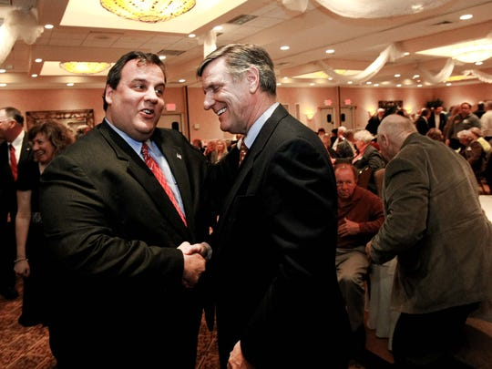 As a candidate for governor in 2009, former U.S. Attorney Chris Christie counted on Ocean County Republican Chairman George R. Gilmore to deliver the votes he needed to defeat incumbent Gov. Jon Corzine. Gilmore did not let Christie down. The two men are seen here at the Toms River Holiday Inn just days before Christie's election as governor.