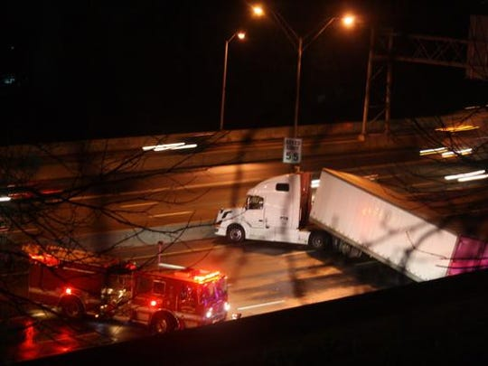 This jackknifed tractor-trailer closed southbound Interstate 71/75 in Northern Kentucky Friday morning.