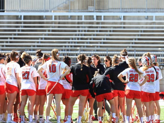 Ohio State's women's lacrosse team in a pre-game huddle before a match-up against Duquesne at Ohio State University on February 28th, 2016. Ohio State won 16-6.