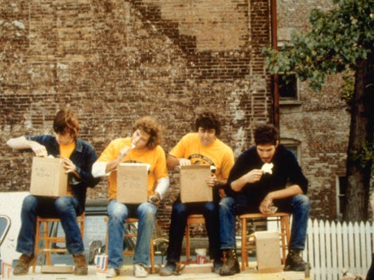 Bruce Vielmetti (second from left) takes part in an ice-cream-eating contest outside Ben & Jerry's original store in 1978.