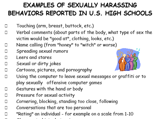 A handout of examples of sexually harassing behaviors