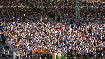 Some of the 28,000 that participated in the 14th Annual Pat's Run on April 21, 2018 at ASU in Tempe, Ariz. The 4.2 mile run/walk is held in memory of the Arizona Cardinal and ASU alum Pat Tillman, who died in the service of his country.