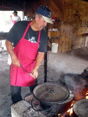 Food sizzles and is served three times a day at the Nogal Mesa Ranchman's Camp Meeting that begins. Camp runs July 19-23. All are invited to attend.