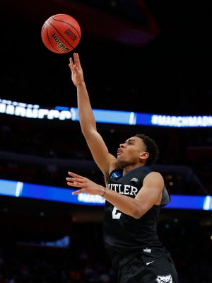 Mar 16, 2018; Detroit, MI, USA; Butler Bulldogs guard Aaron Thompson (2) shoots the ball in the second half against the Arkansas Razorbacks in the first round of the 2018 NCAA Tournament at Little Caesars Arena. Mandatory Credit: Rick Osentoski-USA TODAY Sports