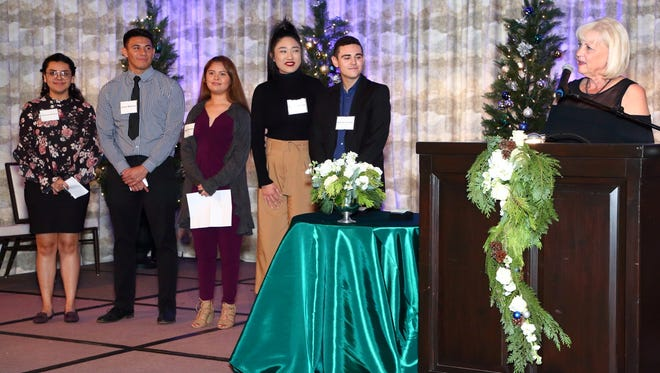 From L to R: PDC University Legacy Scholars Stephanee Sandoval, Adrian Martinez, Maria Morales, Kayla Robles, Nicholas Conoway, Dean Sharon Brown-Welty
