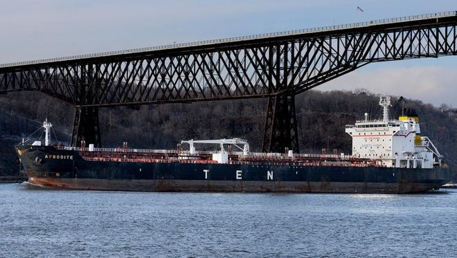 The Afrodite, a 591-foot-long oil/chemical tanker based out of Nassau, Bahamas, travels south in early December beneath the Walkway Over the Hudson in Poughkeepsie.