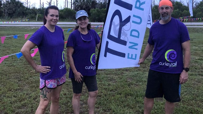 Dr. Amy Coopersmith, Kim Fitzgerald and Brian Mason make up a three-person relay team for the Oceans 26.2 Relay on Saturday.