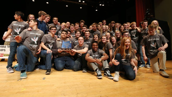 West Salem celebrates first place finish in the OSAA 6A Band State Championships on Saturday, May 14, 2016, at the LaSells Stewart Center at Oregon State University in Corvallis.