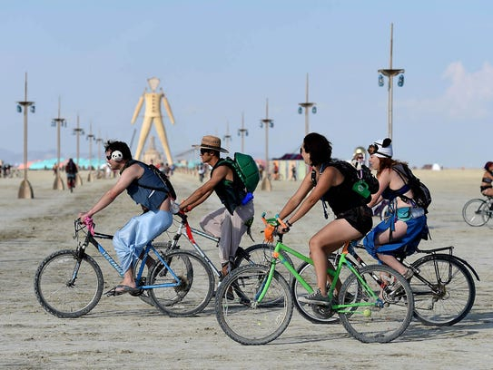 Burning Man participants on Aug. 25, 2014