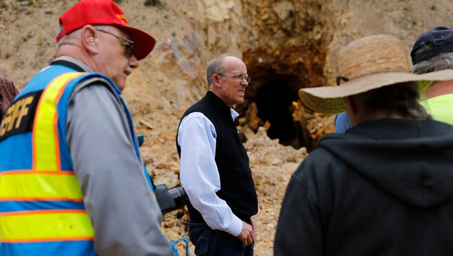 Environmental Protection Agency Regional Administrator Martin Hestmark tours the Gold King Mine site north of Silverton, Colo., on Aug. 10.