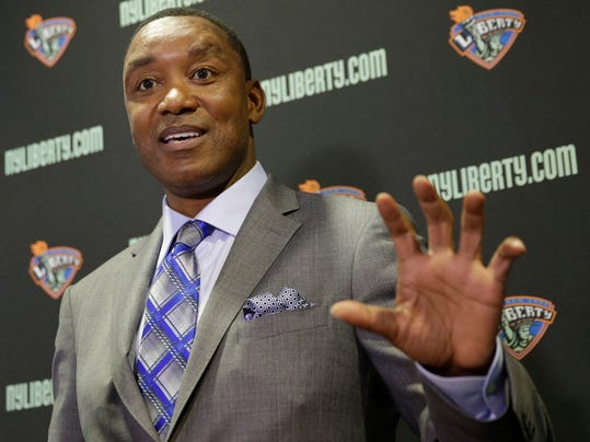 """FILE - In this May 21, 2015, file photo, New York Liberty president Isiah Thomas speaks during a news conference in Tarrytown, N.Y. New York Liberty owner James Dolan says he's looking to sell the team, one of the original eight WNBA franchises. Dolan has owned the team that plays at Madison Square Garden for 21 years. He says in a statement Tuesday, Nov. 14, 2017, he's """"proud of how far the league has come, and the role we have played in its growth."""" He calls this a """"difficult decision"""" but is confident of """"an even more successful future."""" In 2015, the WNBA and Liberty said they would not consider Thomas' bid to own the Liberty. (AP Photo/Seth Wenig, File)"""
