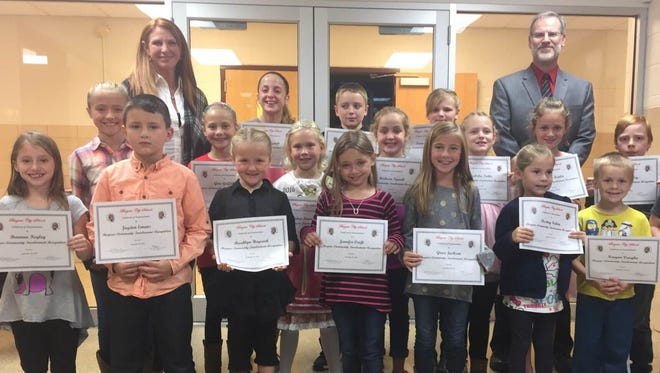 More than 30 Bucyrus Elementary School students were recognized for summer community service during a recent board meeting.