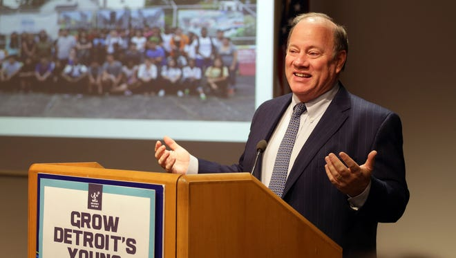 Detroit Mayor Mike Duggan announces an expansion of the city's summer program, Grow Detroit's Young Talent at Detroit Regional Chamber on Feb. 2, 2016.