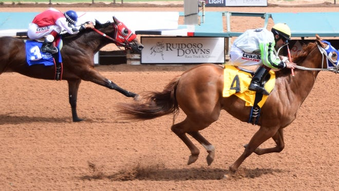 Suze Returns is the 3-1 morning-line favorite for Sunday's 350-yard Ruidoso Futurity. She is owned by El Paso's Joe Rios.