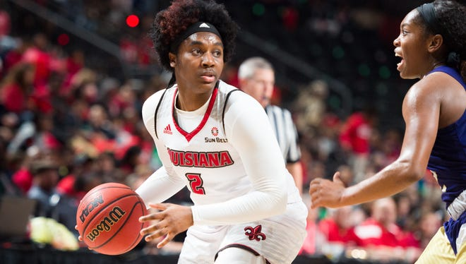 UL's Jasmine Thomas is the Sun Belt Conference Player of the Week after averaging 15 points, 7 rebounds and 6.5 assists a game.