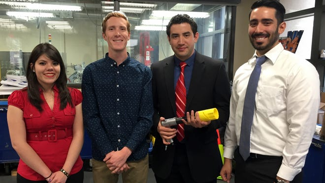University of Texas at El Paso mechanical engineering students (from left) Reina Trevino, Colton Caviglia, Leonardo Gutierrez and Steven Torres will present their rock chip sampling device at a NASA challenge at the Johnson Space Center in Houston May 23-26.