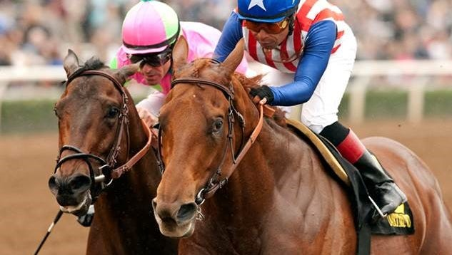 Dortmund came back on the rail to beat Firing Line in the Robert B. Lewis
