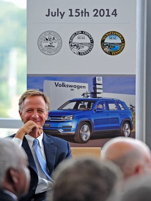 Gov. Bill Haslam smiles during a press conference discussing an expansion at the Volkswagen plant in Chattanooga at the Hunter Museum.