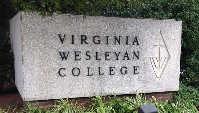 A sign in front of Virginia Wesleyan College, a 1,300-student school affiliated with the United Methodist Church.