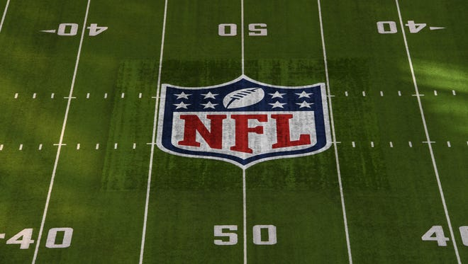 A general view of the NFL shield logo.