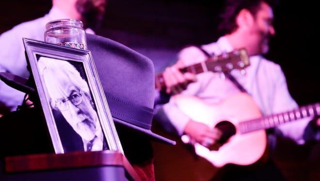 A photo, and the hat of  David Egan are displayed during a memorial and performance for the singer/songwriter, who passed away in March, at Warehouse 535 May 15, 2016.