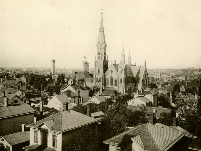 1885: Trinity Evangelical Lutheran Church: A birds-eye