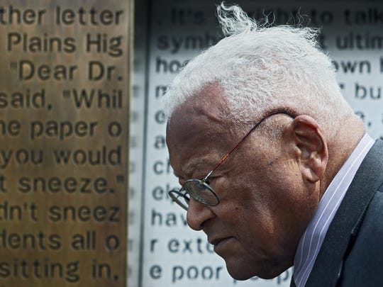 April 5, 2018 - Rev. James Lawson stands in front of the I AM A MAN permanent installation during the I AM A MAN Plaza unveiling adjacent to Clayborn Temple on Thursday. Fifty years ago, Lawson invited Dr. Martin Luther King, Jr. to Memphis to support the 1968 sanitation strike.