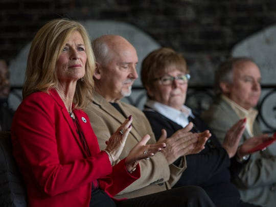 Mayor Pauline Repp claps along with others during a press conference Friday, Feb. 26, 2016 at Tio Gordo's Cocina in downtown Port Huron. Blue Water Fest will run July 14-16, and be sponsored by Soaring Eagle Casino and Resort.