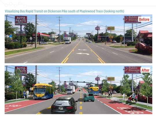 A before and after of what the Nashville Bus Rapid Transit route could look like on Dickerson Pike South of Maplewood Trace looking north.