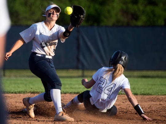 Powell's Kennedy Cowden steals second base from Anderson
