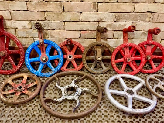 Salvage from the old Oscar Mayer plant in Madison, including these valve handles, is now available at Deconstruction, Inc.