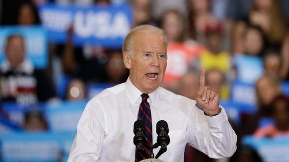 Vice President Biden speaks in Bristol, Pa., on Oct. 7, 2016.
