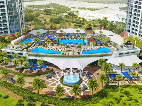Planned pool complex for Portofino Island Resort's sixth tower