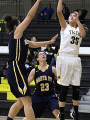 Alamogordo's Daniella Martinez puts up a shot Saturday.
