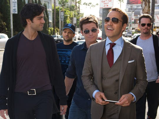 (L-R) Adrian Grenier as Vince, Jerry Ferrara as Turtle, Kevin Connolly  as Eric, Jeremy Piven as Ari Gold and Kevin Dillon as Johnny Drama in the movie 'Entourage.'