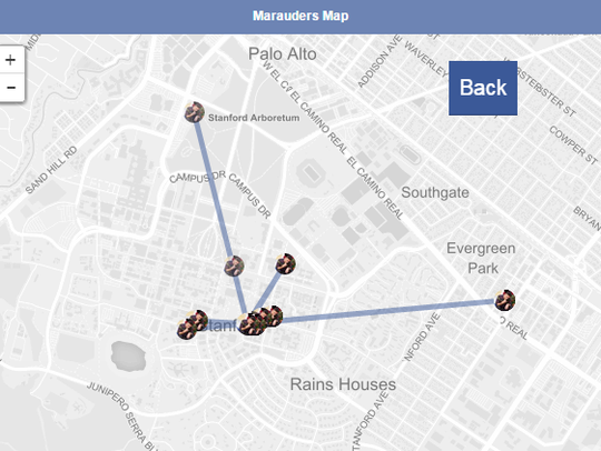 The location history data over the course of a few