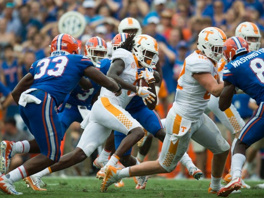 Tennessee wide receiver Marquez Callaway (1) runs with the ball during the Tennessee Volunteers vs. Florida Gators game at Ben Hill Griffin Stadium in Gainesville, Florida Saturday, Sept. 16, 2017. Florida defeated Tennessee 26-20.