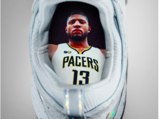 Paul George's shoe features a  Paul George sockliner.