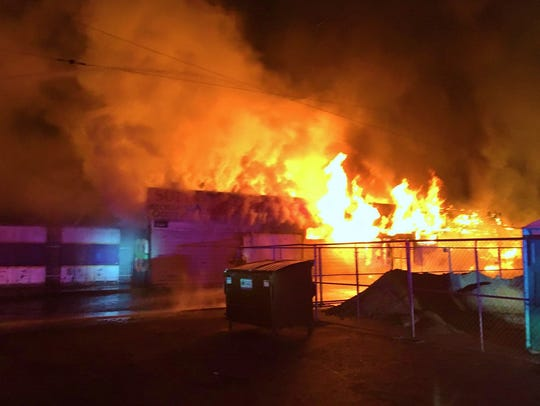 A fire quickly spread through the Farmersville Recycle