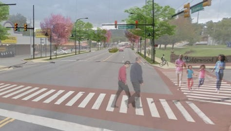 A rendering of a more pedestrian friendly North Broadway. City officials will propose numerous ideas like this one Tuesday night.