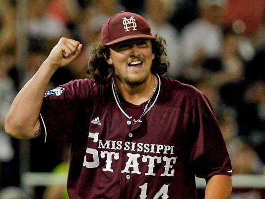 NCAA Baseball: College World Series-Mississippi State vs Indiana