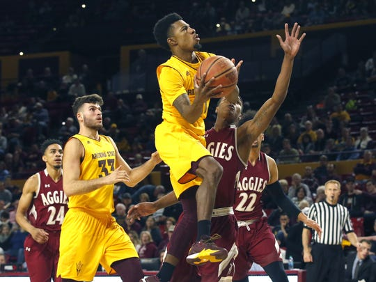 Arizona State's Shannon Evans II takes a shot against New Mexico State at Wells Fargo Arena in Tempe, Arizona on Saturday.