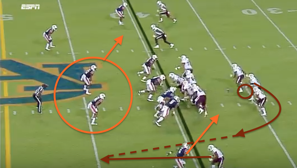 An excellent play-action fake on the jet sweep and