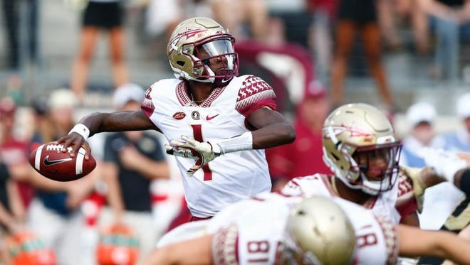 Florida State Seminoles quarterback James Blackman (1) passes the ball in the second quarter against the Wake Forest Demon Deacons at BB&T Field.