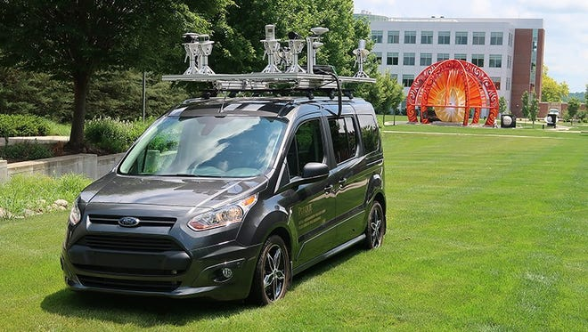 The LiDAR (Light Detection and Ranging) mobile sensing platform on top of the vehicle is one of the projects to be researched through the new Innovation Hub for Connected and Autonomous Vehicles being established at Purdue's Discovery Park.