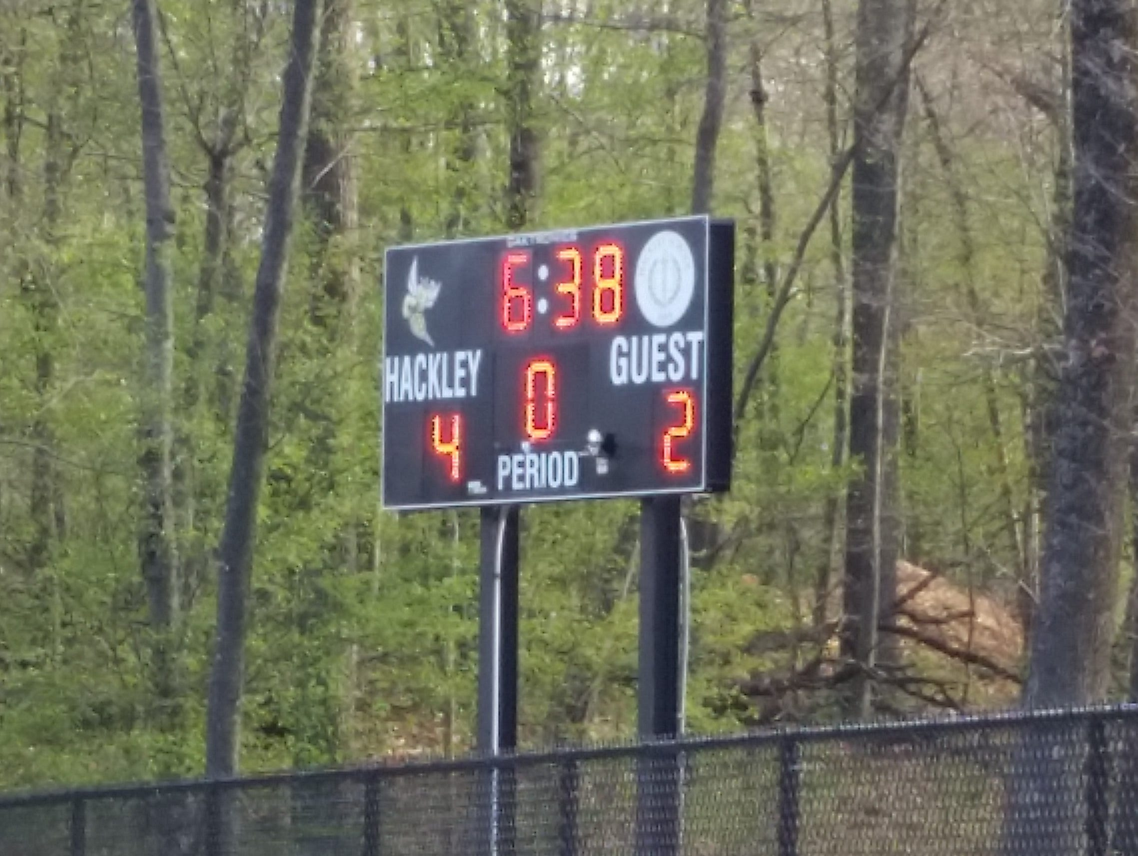 The scoreboard at the Hackley School's lacrosse field on Monday, April 25th, 2016