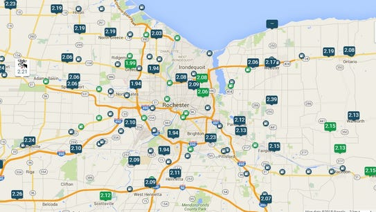 A map of gas prices showing stations selling gasoline