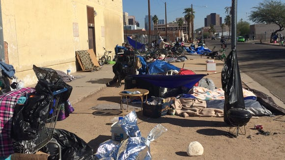 Madison Street in downtown Phoenix, where the homeless camp outside the Human Services Campus.