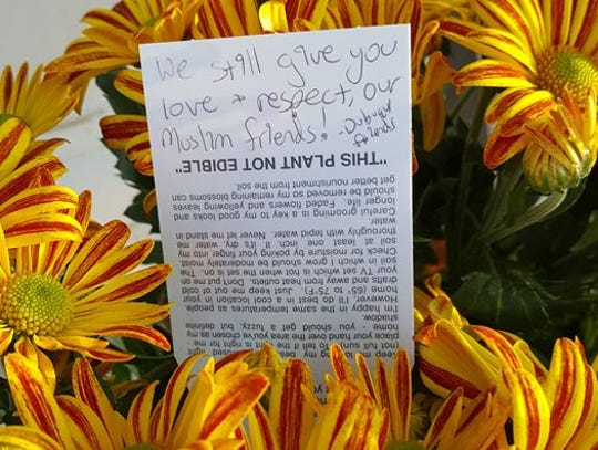 A bouquet and note were left on the doorstep of the