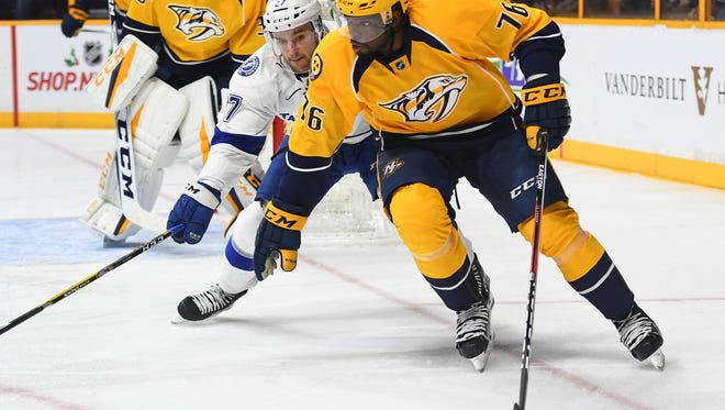 Predators defenseman P.K. Subban has missed 15 games because of an upper-body injury.